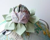 Teacher Gift - Origami Lotus Flower handmade from a recycled highway map - Decoration, Favor, Gift, Graduation, Birthday, Wedding