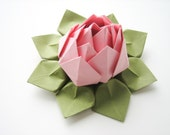 Handmade Origami Lotus Flower - Blossom Pink and Moss Green - Decoration, Hostess Gift, Baby Shower, Party Favor, Get Well, Valentine's Day