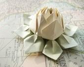 Origami Lotus Flower decoration or favor // Ivory - Sage Green