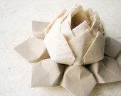 SALE - Lotus Flower - Natural Hemp Fiber Paper  - Origami Gift, Decoration, Favor - handmade flower, ivory, tan