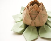 SALE - Origami Lotus Flower Decoration or Favor // made from tan paper with green vines with leaf green leaves