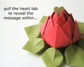 Valentine Flower - PERSONALIZED Message - Origami Lotus - Paper Flower - Bright Red, Moss Green - can be shipped directly - Valentine's Day