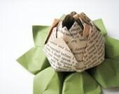 Romantic Jane Austen Origami Lotus Flower Decoration or Favor - handmade flower, teacher gift, graduation, Valentine's Day