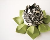 SALE Origami Lotus Flower Decoration or Favor // Elegant Black and Ivory handmade paper with moss green leaves