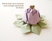 Pastel Origami Lotus Flower with a PERSONALIZED Message  in Lavender with gift box and bow