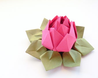 Handmade Origami Lotus Flower - Fuchsia Pink, Moss Green - decoration, gift, or favor