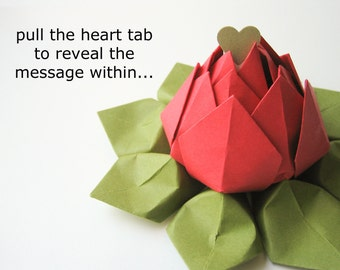 PERSONALIZED Message - Origami Lotus - Paper Flower - Bright Red, Moss Green - can be shipped directly - graduation, birthday, anniversary