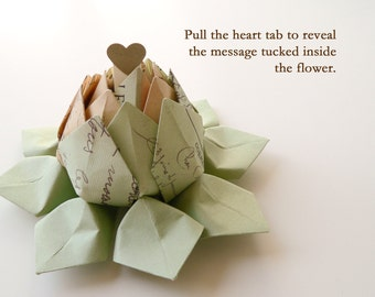 PERSONALIZED Cartes Postale Origami Lotus Flower with a  Secret Message and gift box