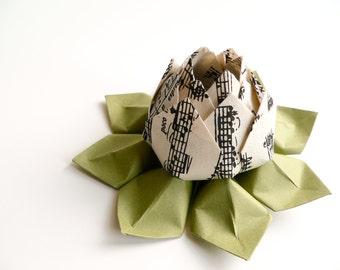 Teacher Gift - Musical Notes Origami Lotus Flower - handmade paper flower - music, ivory, black, moss green - holiday decor, hostess gift