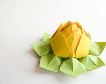 Origami Lotus Flower - Lemon Yellow, Apple Green - Handmade  table decoration, hostess gift, birthday, bright, citrus, summer
