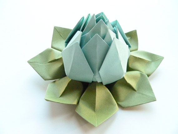 Origami Lotus Flower in Robin's Egg Blue and Moss Green - Decoration, Favor, Handmade Gift