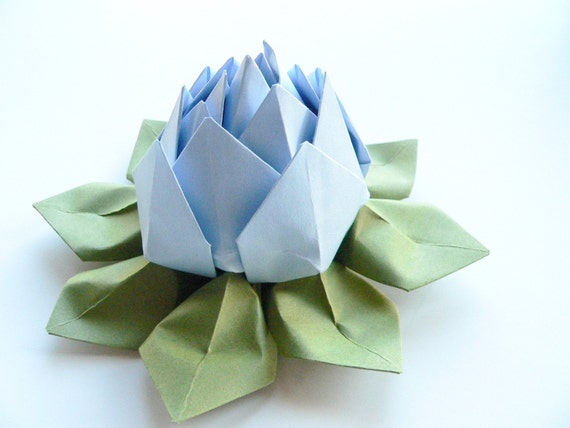 Origami Lotus Flower Decoration or Favor // Bluebell and Moss Green