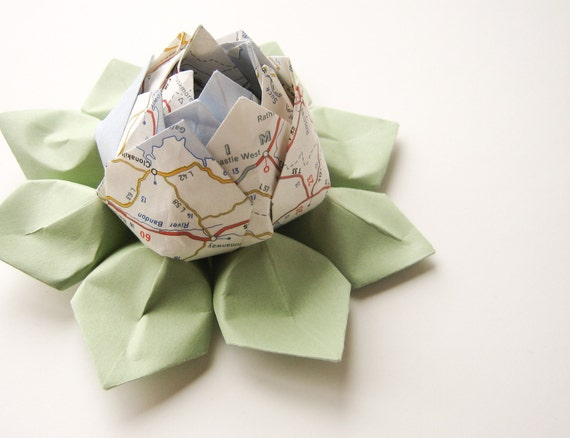 Recycled Map Origami Lotus Flower  - Decoration, Gift, or Favor - Graduation, Father's Day, Bon Voyage, Wedding