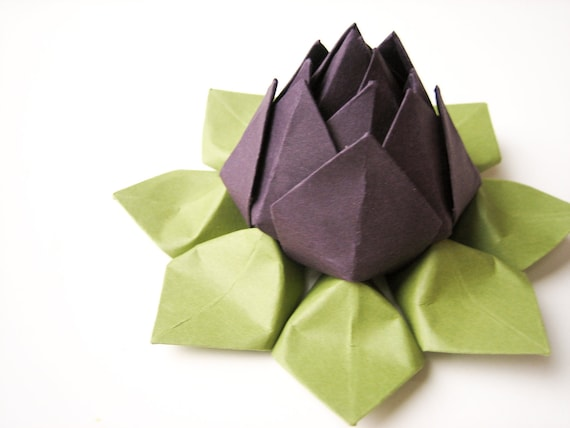 Lotus Flower - Origami paper flower - Eggplant Purple, Moss Green - autumn decor, hostess gift, birthday gift, can be shipped directly