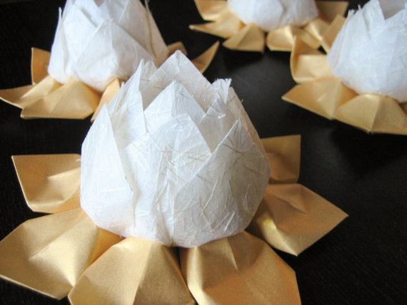 Lighted Paper Flower - Winter Wedding  - Origami Lotus Flower - battery operated LED - ivory, metallic gold leaves -  holiday, Christmas