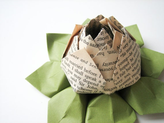 Romantic Jane Austen Origami Lotus Flower Decoration or Favor - handmade flower, teacher gift, graduation, Valentine's Day