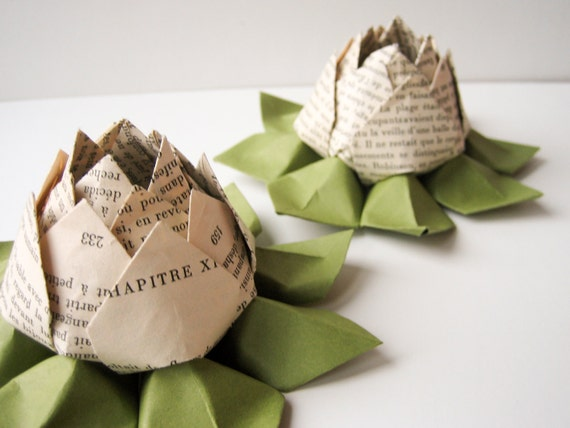 SALE - French Book Origami Lotus Flower Decoration, Gift or Favor -- Graduation, Teacher Thank You, Romantic