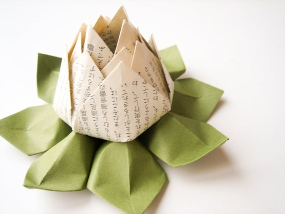 Origami Lotus Flower Decoration or Favor made from Japanese vintage text and moss green leaves