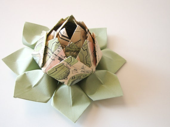 SALE - Paris Map Origami Lotus Flower Decoration, Gift, or Favor - French, handmade flower, coral, green, black, ivory, travel