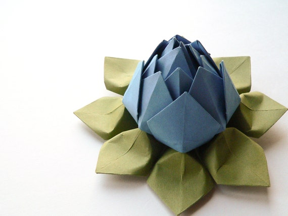 Origami Lotus Flower - Lake Blue and Moss Green - Decoration, Gift, Favor, Father's Day, Graduation, Hostess Gift, Teacher Thank You