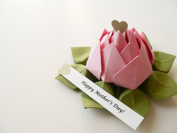 PERSONALIZED Mother's Day Origami Lotus Flower in Blossom Pink and Moss Green with gift box
