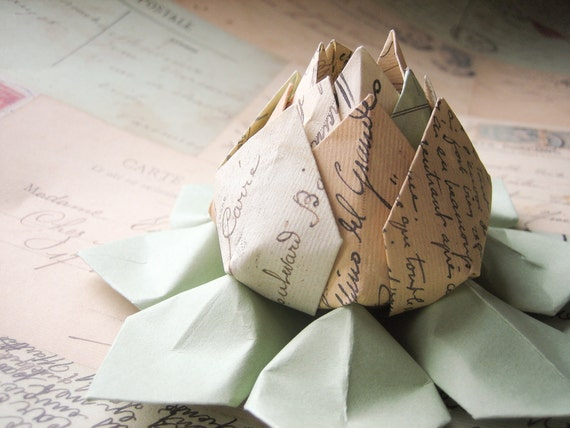 French Postcards Paper Flower -  Origami Lotus Flower -  Table Decoration, Hostess Gift, Birthday Gift, Thank You-- can ship directly