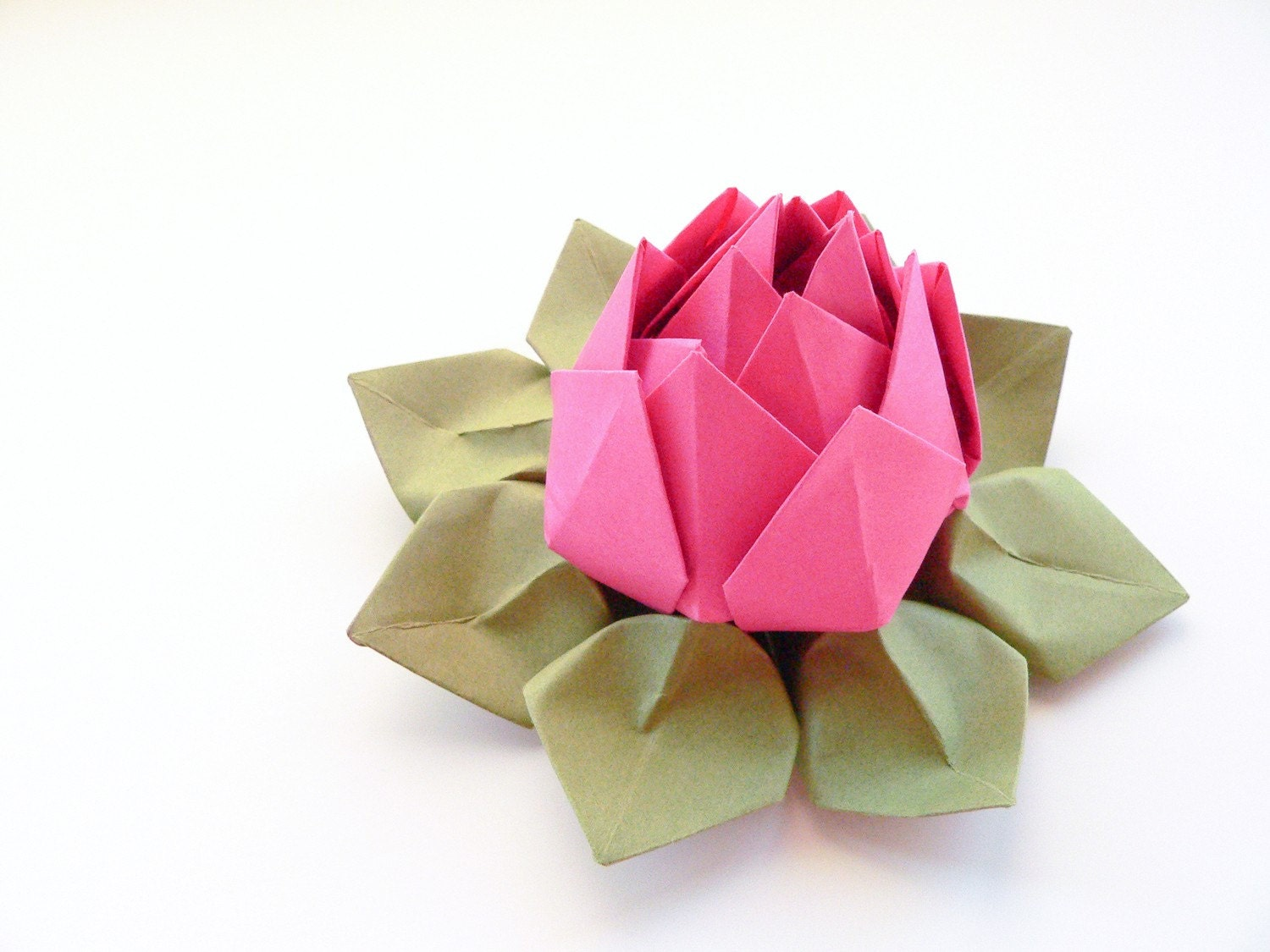Handmade origami lotus flower fuchsia pink moss by for How to make a lotus with paper