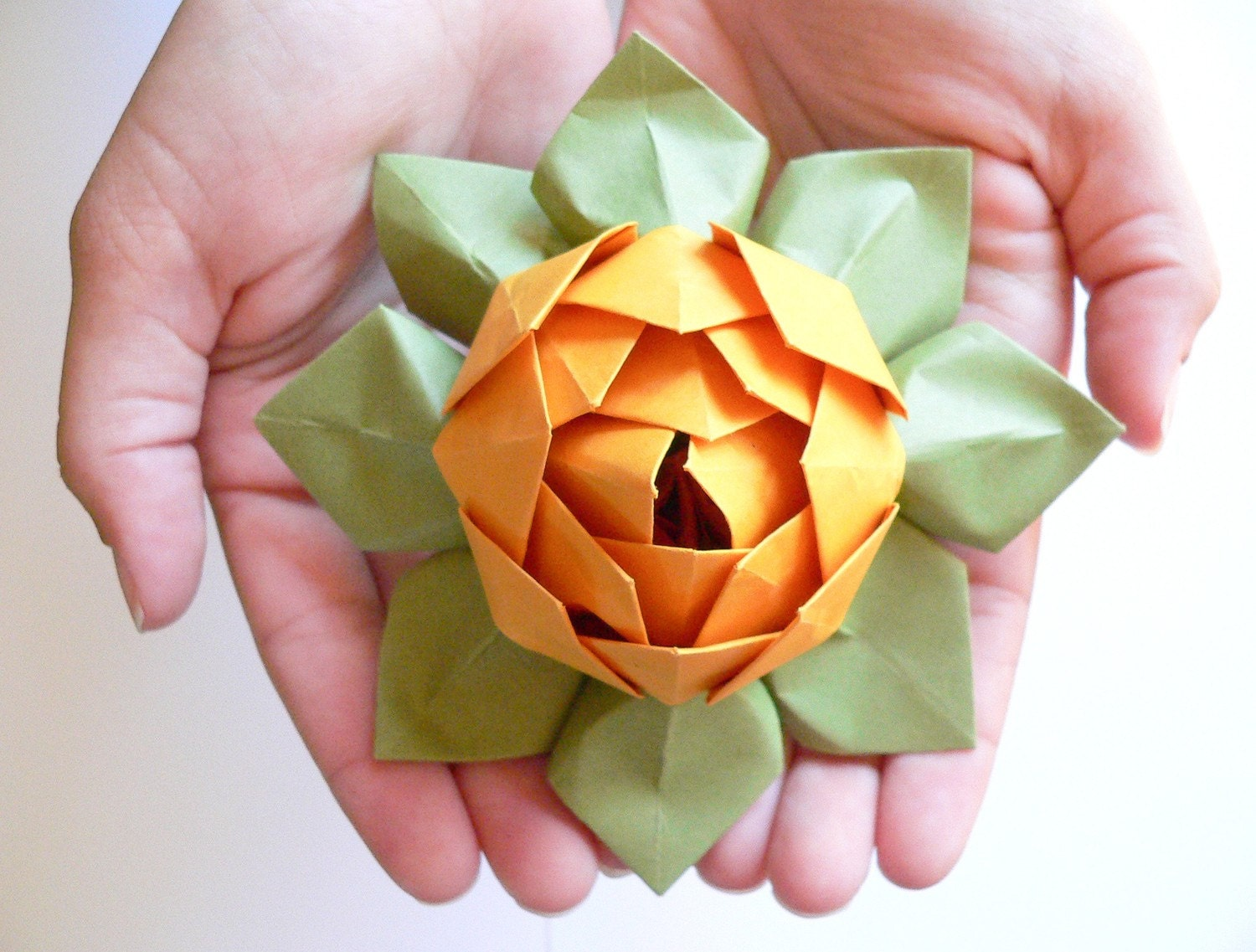 Origami Lotus Flower Decoration or Favor // Gold and Moss - photo#5