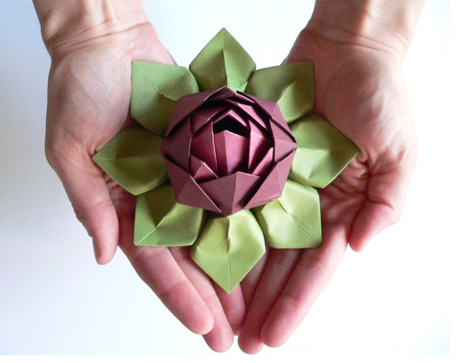 Handmade paper flower origami lotus flower decoration or for Flower decoration made of paper