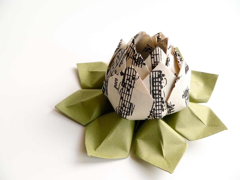 teacher gift musical notes origami lotus flower handmade