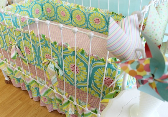 Pop Garden Tiered  Ruffle Custom Crib Bedding Set with ruffle trim bumper