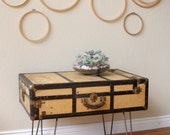 reserved for KIM Vintage Suitcase Coffee Table with Hairpin Legs