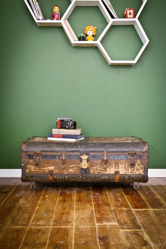 RESERVED FOR MATT Vintage Suitcase Coffee Table with Hairpin Legs