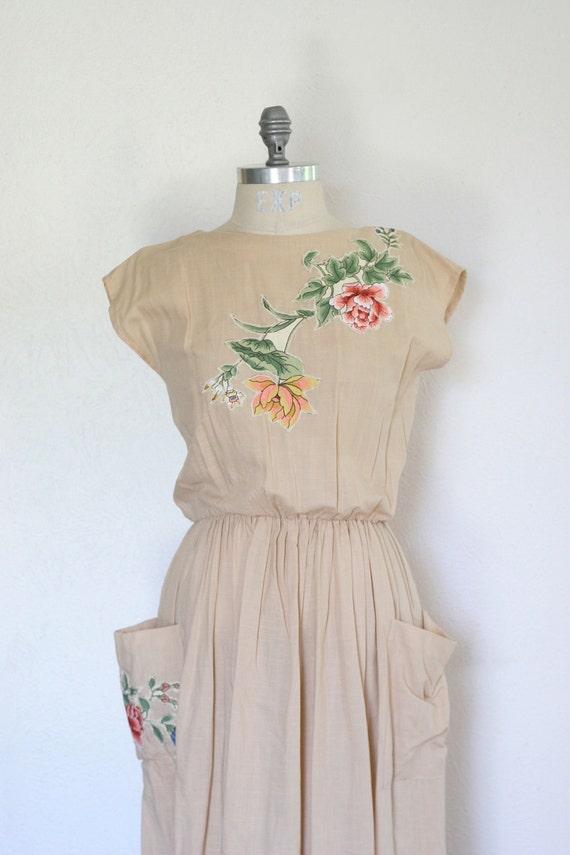 Vintage Floral Applique Dress with Pockets