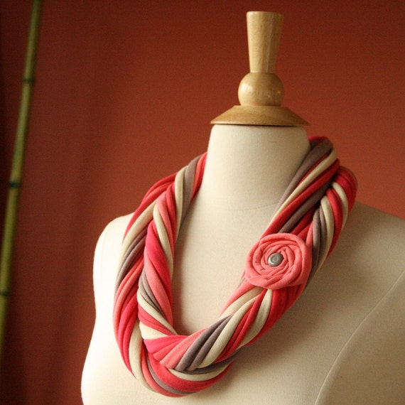 Fabric Necklace Scarf Pronta Lena. Handmade Cowl with Flower Pin. Coral Hot Coral Taupe Cream