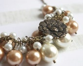 Pearl White Soft Gold Brass Peony Flower Bridal Necklace
