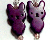Earrings- Purple rabbit/bunny howlite beads, pink glass bicone beads, silvertone ear wires, dangle FREE US SHIPPING
