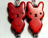 Earrings- Red rabbit/bunny howlite beads, silvertone beads, silvertone ear wires, dangle FREE US SHIPPING