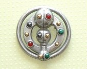 Vintage Bugsby Round Pewter Whimsical Brooch with Quartz Stones