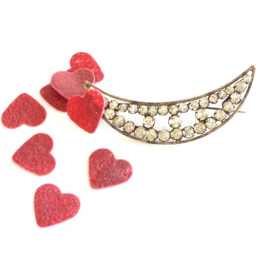 Antique Edwardian Diamante Crescent Shape Brooch