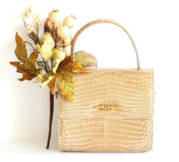 Vintage Genuine Alligator Handbag Honey Color Handbag