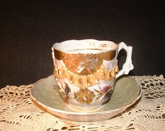 Antique Large Ornate German Cup and Saucer //254//260