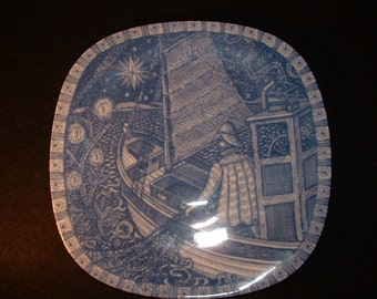 1969 Rorstrand Julen Christmas Plate 2nd in Series //  Fishermans Homecoming// Blue and White //66