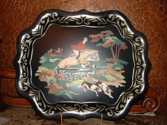 Antique fox hunt scene painted metal tray  304