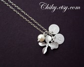Custom Initial two discs, orchid flower, freshwater pearl  - Sterling Silver necklace, elegant wedding bridal wear, bridesmaids gifts