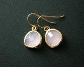Pink earrings, glass stone in bezel earrings - gold earrings, weddings, bridesmaids jewelry, bridal jewelry, bridesmaid gift