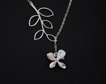 Beautiful Orchid necklace with Leaf branch STERLING SILVER ,wedding jewelry, bridesmaids gift, branch lariat necklace, spring summer wedding