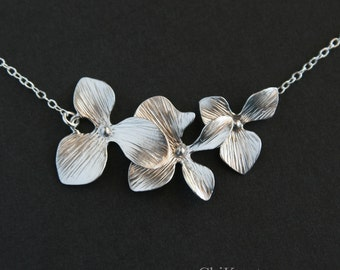 Triple orchid necklace - STERLING SILVER,  wedding bridal jewelry, brides bridesmaid gift, flower girl necklace