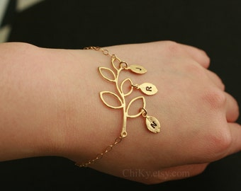 Personalized Initial Bracelet, Delicate Branch Leaf Jewelry , Customized Letter Leaf - Gold or Silver- special gift for someone you love
