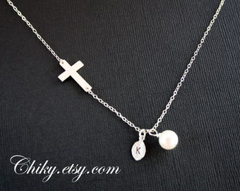 Sideways cross with initial leaf and pearl necklace, horizontal cross necklace, STERLING SILVER, simple necklace,personalized gift, faith